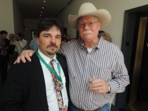 Garden City Life/Long Island Weekly editor Dave Gil de Rubio wishing California Chrome owner Steve Coburn best of luck in his pursuit of the Triple Crown.