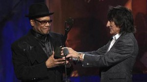 Bobby Womack getting inducted into the Rock & Roll Hall of Fame by close friend/famous fan/Rolling Stones guitarist Ronnie Wood