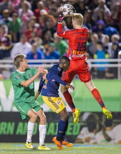 Goalie Ryan Meara had his hands full as the Cosmos out shot Meara's Red Bulls by a tally of 21-3.