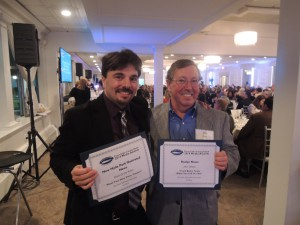 Garden City Life/Long Island Weekly editor Dave Gil de Rubio (left) and Anton Community Newspaper Editor in Chief John Owens, who came away with third place for Narrative: Editorial Commentary for the Roslyn News.