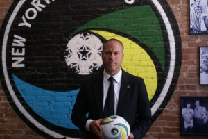 Cosmos coach Giovanni Savarese feels all the pressure is on the Red Bulls in this inaugural New York Derby.
