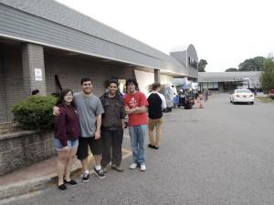 Carina Velasquez, Alexander Kalemkeridis, John Carlos Vasquez and Michael Themistocleous waited outside of Big Lots, watching the movie film.