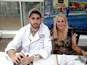 At the BBQ Grilling judging table with Vincent Olivieri, Fairway Café executive chef (Photo by Cynthia Paulis)