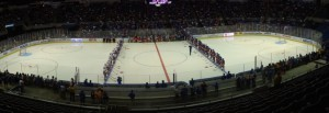 Both teams were introduced to the thousands on hand at Nassau Coliseum.