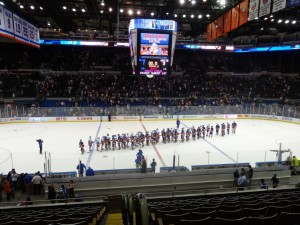 Both teams shook hands at the end of a fun night of hockey.