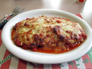 The eggplant parmigiana at Gino's in Manhasset is a perfect balance of tomato sauce and mozzarella.