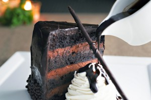 Seven levels make up the entirety of this scrumptious layer cake at the Garden City Hotel.