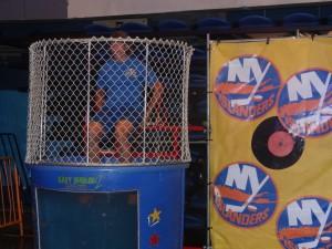 Islanders winger Matt Martin took to the dunk tank to raise money for the Islanders Children's Foundation. (Photo by Aaron Cheris)