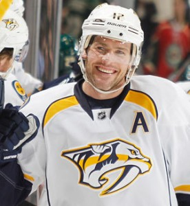 New Nashville Predator Olli Jokinen just saw his value spike now that center Mike Fisher (pictured) wound up rupturing his Achille tendon, putting him out for the next four to six months.