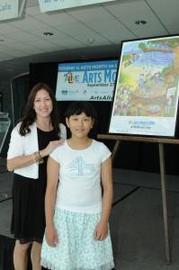 Audrey Zhang, 11, 2014 Arts Alive Long Island poster contest winner and Island Trees Middle School art teacher Karen McNally.