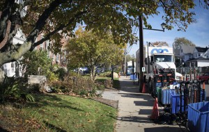 Film production trucks lined Manhasset's Andrew Street, south of North Hempstead Town Hall, in the first week of November.