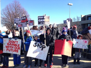 Local residents protested against the creation of a casino-like gambling parlor.