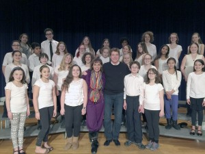 Kathleen Mucciolo-Kolins and Andy Cooney with the Long Beach Middle School chorus