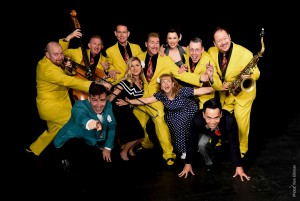 The Jive Aces (in yellow) will be providing the live music soundtrack at Adelphi University.