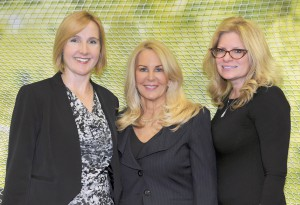 Anton Media Group publisher Angela Susan Anton, who is also president of the Nassau County Museum of Art board and chairman of the museum's 2015 Ball. Standing with here are The 2015 Ball Journal co-chairs Rebecca Creavin (left) and Patricia Janco-Tupper (Photo by Tab Hauser)