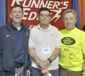 Glen Wolther, All Round Foods (a sponsor of the Long Island Marathon) with Nick Palazzo (GLIRC) and Bob Cook, owner of Runner's Edge