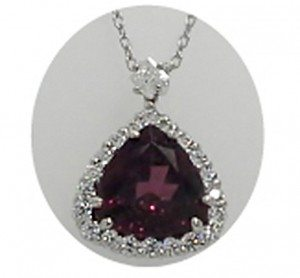 """White gold, rhodolite garnet and diamond necklace—the grand prize for the American Heart Association's """"Life is Why"""" Ball"""