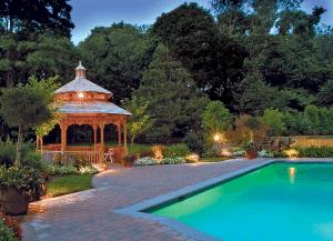lit pool and gazebo