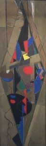 """""""Spinning Figure"""" by Perle Fine of Springs with Berry Campbell, Oil on canvas, 42 x 14, 1949"""
