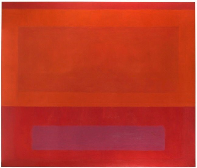 """""""Cool Series (Red over Orange over Purple)"""" by Perle Fine of Springs with Berry Campbell, Oil on canvas, 60 x 70, ca. 1961-63"""