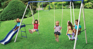 A swing set proved to be a gateway to imagination for one reader when she was a kid.