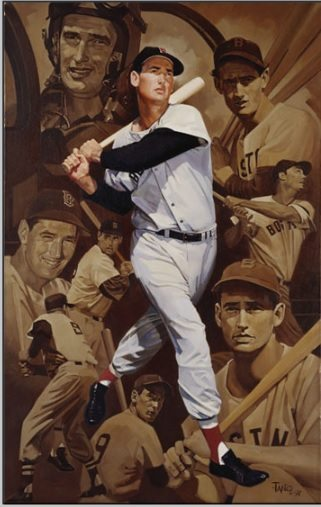 Scicchitano's Ted Williams painting hangs in the Baseball Hall of Fame.