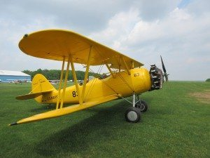 A biplane at the airfield
