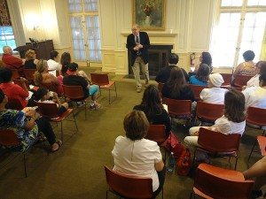 Dr. Feinstein giving a lecture at the North Shore Child and Family Guidance Center (Photo by Chris Boyle)