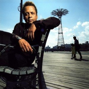 Garland Jeffreys maxing and relaxing on the Coney Island boardwalk pre-Hurricane Sandy in his home borough of Brooklyn.  (Photo by Danny Clinch)