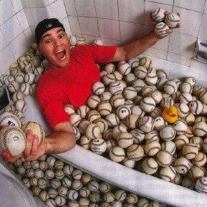 Hample with some of his 8,000 baseballs at a recent photo shoot