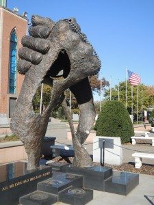 """""""All We Ever Had Was Each Other"""" statue at the Veterans' Memorial Park in Eisenhower Park. (Photo by Christy Hinko)"""