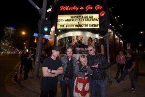 X today (from left): DJ Bonebrake, John Doe, Exene Cervenka, Billy Zoom (Photo by Gary Leonard)