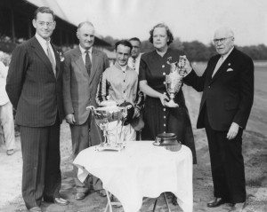 John Hay Whitney, at far left, and his sister, Joan Payson, second from right, are pictured in the Saratoga winner's circle after their horse, Sunday Evening, won 1949's Spinaway Stakes. (Photos courtesy of the National Museum of Racing and Hall of Fame)