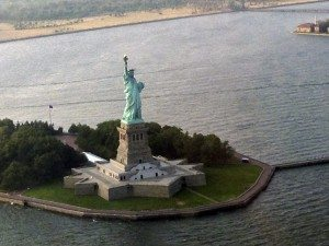 High over Lady Liberty