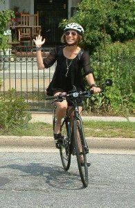 Car-less Long Island founder Sylvia Silberger commutes to work, yoga classes and the Ethical Society of Long Island often, and occasionally enjoys much longer biking treks.