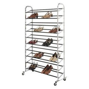 Chrome Shoe Tower slanted shelves hold 50 pairs of shoes, making them easy to see and grab ($79.99, Whitmor, www.target.com).