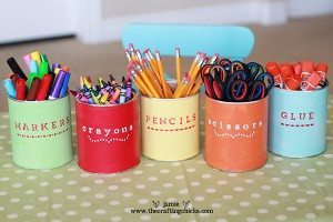 Colorfully labeled cans are perfect for school supplies. (Photo by Babble)