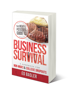 The Meat and Potatoes Guide to Business Survival is the hands-on, entrepreneurial roadmap to achieving your business dreams—regardless of your educational background. Forty-year entrepreneur Ed Basler serves up a healthy helping of sound business principles and practices to start a new business or to jumpstart a current one. Through failure and success, economic upturns and downturns, Basler shows you how to be profitable using dedication, wisdom, and hard work instead of degrees and book theories.