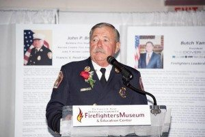"""Chief John P. Brown thanks the museum and supporters for the """"Francis X. Pendl Firefighter Award"""""""
