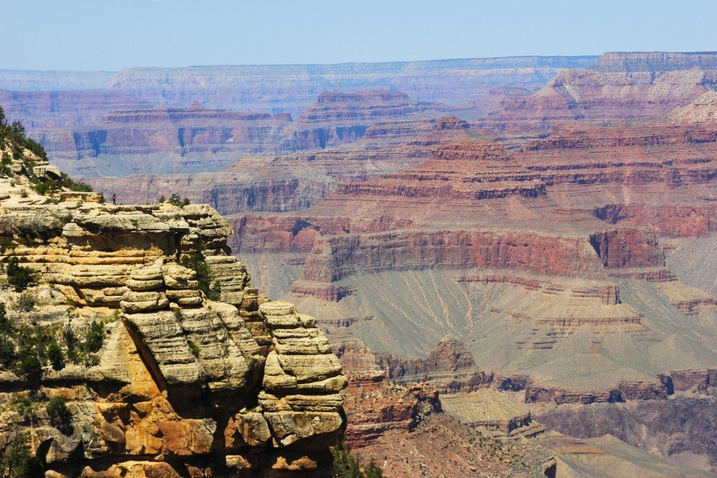 Grand Canyon view from Mather Point—can you see the brave person standing out on that ledge?