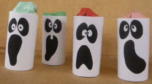 Common household items can be used to create inexpensive Halloween crafts