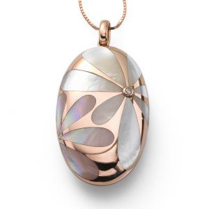 Elongated mother of pearl oval pendant, 18 karat rose gold, $795