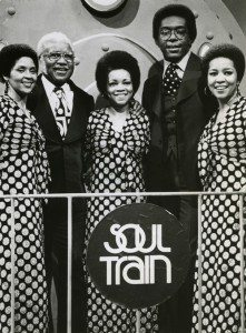 The Staples Singers circa 1970 with Soul Train host Don Cornelius (second from right)