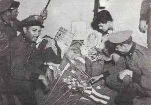 Governor Munoz Marin's police seize dangerous Puerto Rican flags while in the process of enforcing Public Law 53 (the Gag Law).