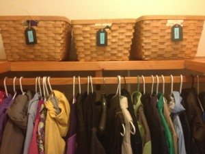 Baskets are good for storing items like umbrellas, scarves and gloves in your front hall closet.