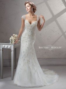 This beaded Sottero and Midgley gown evokes the beauty of winter's bare branches. (Sottero and Midgley for Kleinfeld)