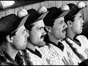 Mets circa 1986 from left: Tim Teufel, Howard Johnson, Bobby Ojeda, Ron Darling