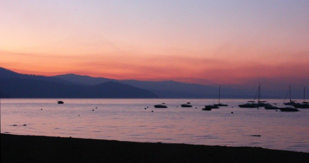 The view at sunset from the dining deck of Beacon Bar & Grill near Camp Richardson in South Lake Tahoe