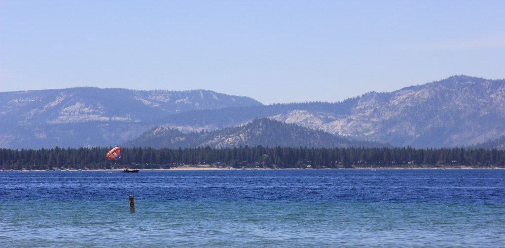 Parasailing is only one of many activities available at Lake Tahoe.