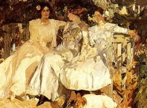 """Joaquín Sorolla's """"My Wife and Daughters in the Garden,"""" (1910)"""